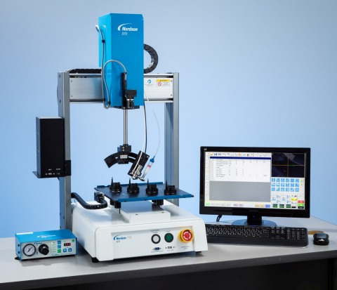 Nordson EFD's 4-axis RV Series automated dispensing robot provides simplified programming with a sma ...