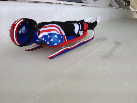 The USA Luge team competed with Olympians from around the world using sleds designed by their engine ...
