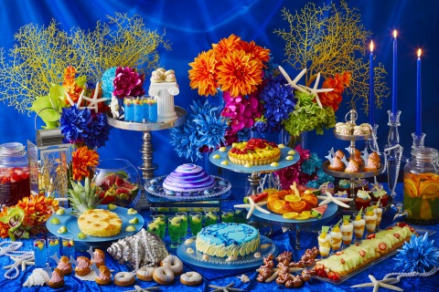 A wide range of colorful desserts based on the deep blue color and patterned after various sea creat ...