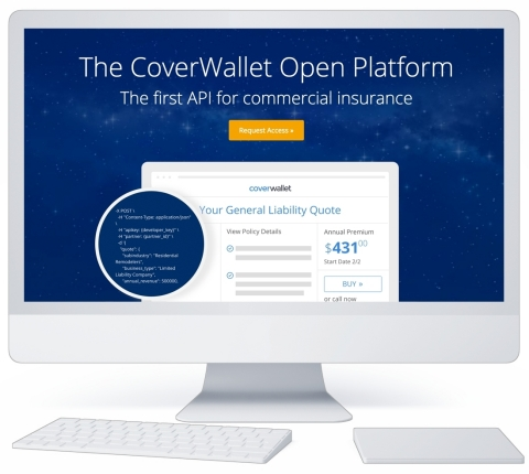 The CoverWallet Open Platform. The first API for commercial insurance. (Graphic: Business Wire)