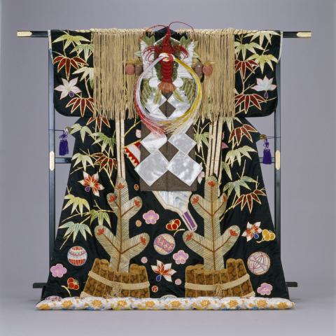 Ornate and gorgeous costume matching the celebratory nature of the Japanese New Year holidays used i ...