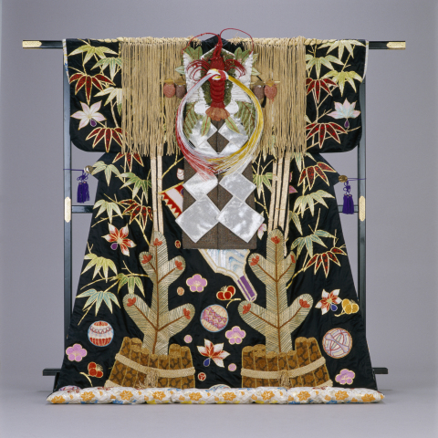 Ornate and gorgeous costume matching the celebratory nature of the Japanese New Year holidays used i ...