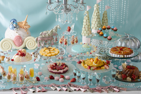 Specially prepared dessert items including vanilla mousse in the image of Cinderella, sponge cake pa ...