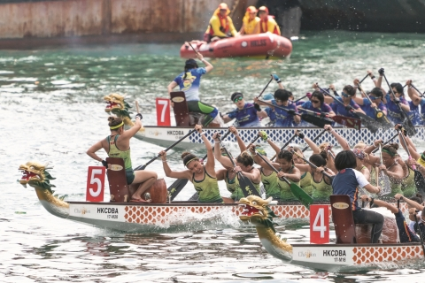 The Hong Kong International Dragon Boat Races, part of the Hong Kong Dragon Boat Carnival, draw drag ...