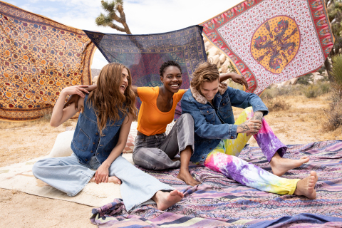 """Every design in this collection, """"War & Peace,"""" captures a monumental moment in time – one longing for change. Bold, rebellious pieces are complemented by fun and carefree tiedye for a juxtaposition of two attitudes. (Photo: Business Wire)"""