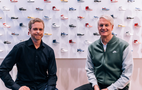 NIKE, Inc. announces Board Member John Donahoe (right) will succeed Mark Parker (left) as President & CEO in 2020; Parker to become Executive Chairman (Photo: Business Wire)