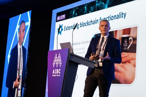 Dr. Ciprian Pungila of the aBey Foundation delivers the keynote address on the opening day of the Malta Blockchain Summit 2019. (Photo: Business Wire)