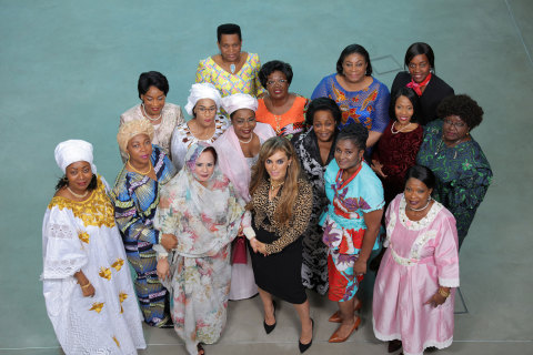 Dr. Rasha Kelej, CEO of Merck Foundation with H.E. DJÈNÈ CONDÉ, The First Lady of Guinea; H.E. FATIMA MAADA BIO; The First Lady of Sierra Leone; H.E. Prof. GERTRUDE MUTHARIKA, The First Lady of Malawi; H.E. FATOUMATTA BAH-BARROW, The First Lady of The Gambia; H.E. DENISE NKURUNZIZA, The First Lady of Burundi; H.E. AÏSSATA ISSOUFOU MAHAMADOU, The First Lady of Niger; H.E. BRIGITTE TOUADERA, The First Lady of Central African Republic; H.E. REBECCA AKUFO-ADDO, The First Lady of Ghana; H.E. CLAR MARIE WEAH, The First Lady of Liberia; H.E. ANTOINETTE SASSOU-NGUESSO, The First Lady of Congo Brazzaville; H.E. MONICA GEINGOS, The First Lady of Namibia; H.E. AUXILLIA MNANGAGWA, The First Lady of Zimbabwe; H.E. NEO JANE MASISI, The First Lady of Botswana; H.E. Dr. ISAURA FERRÃO NYUSI, The First Lady of Mozambique and Former First Lady of Mauritania. (Photo: Business Wire)
