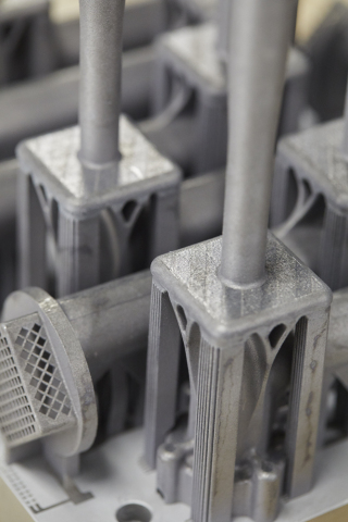3D-printed latticed aluminum aerospace parts, which were produced with Laser Powder Bed Fusion on a Concept Laser M2 UP1 3D printer. (Photo: Business Wire)