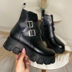 Bota Coturno Feminino Preto de Fivela nas laterais e zíper com sola tratorada Coleção Outono Inverno Loja de Calçados Online MM Store Shoes (5)