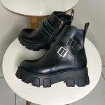 Bota Coturno Feminino Preto de Fivela nas laterais e zíper com sola tratorada Coleção Outono Inverno Loja de Calçados Online MM Store Shoes (7)