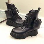 Bota Coturno Feminino Preto Cano curto com Bolso na Lateral Removível e Sola Tratorada Moda Outono Inverno Loja Online MM Store Shoes (3)