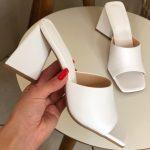 Tamanco Feminino Branco de Salto Triângulo Coleção Primavera Verão Moda e Tendência em Calçados Femininos Loja Online MM Store Shoes (18)