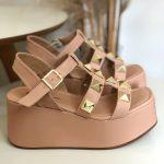 Anabela Flatform Feminina Bege Rosada com Detalhes de Taxas Em formato de Pirâmides Nova Coleção Primavera Verão Loja Online MM Store Shoes (26)