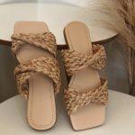 Rasteira Feminina com Detalhes em Palha Bico Quadrado Coleção Primavera Verão Moda e Tendência em Calçados Femininos Loja Online MM Store Shoes (26)