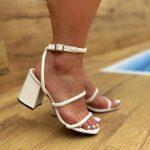 Sandália Feminina Branca de Salto Bloco e Detalhes em Tirinhas confort Tendência da Moda Verão Loja Online mm Store Shoes (4)