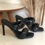 Tamanco Feminino Preto de Salto Alto Fino com Detalhes de Tranças Confort Coleção Verão Calçados Femininos com o Melhor preço Loja Online MM Store Shoes (4)