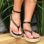 Sandália Papete Feminina Preta com Sola de Corda e Detalhes com Correntes Tendência da Moda Coleção Verão 2022 Loja Online MM Store Shoes (1)