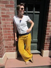 sunglasses: ROC, sweater: trademe, camisole/tank: my ex-work, pants: Anthropologie