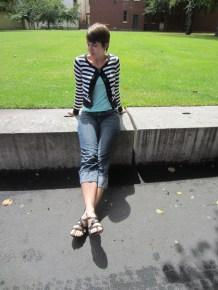 top: my ex-work, cardigan: free from a friend who was moving away, cropped jeans: tradme