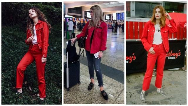 С чем носить красную джинсовую куртку