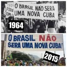 Manifestações de 1964 e de 2015. Fonte: Blog da Comunicação
