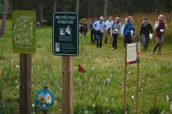 Guests looking at newly planted pollinator garden