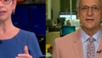 054704d1ab Una periodista brasileña se viste de azul y su colega hombre de rosa  confrontando a la