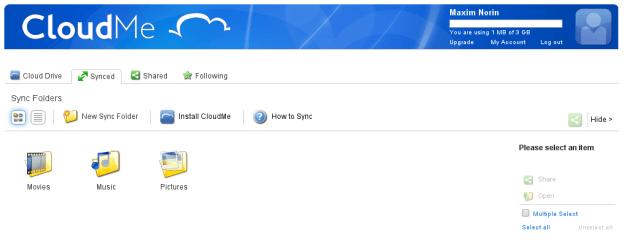 Облачный рабочий стол и хранилище 2-в-1: CloudMe