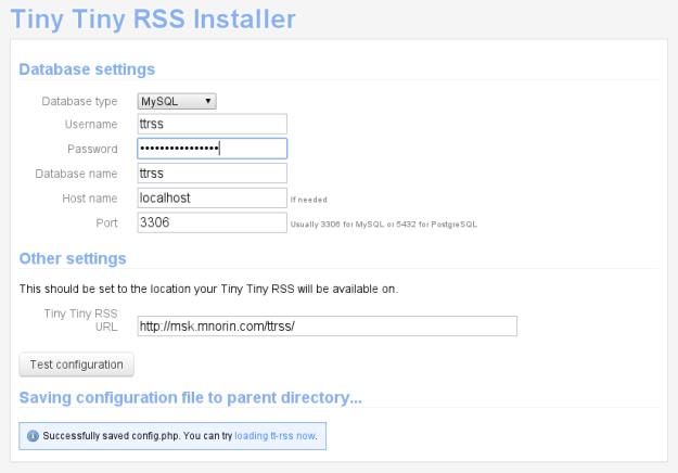 Tiny Tiny RSS: Установка и настройка