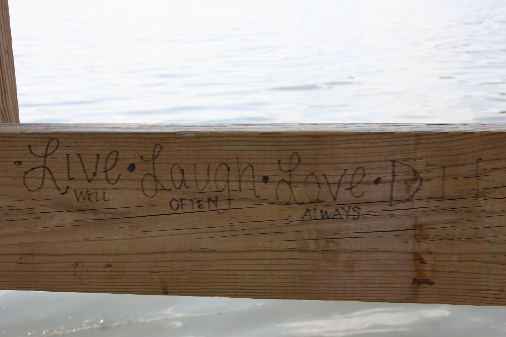 Not just graffiti, but a poem at Sibley Lake Park, Pequot Lakes.