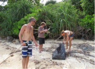 Figure 2. Volunteers collecting litter from one of the sampled sections Photo by Loh Wan Yeng