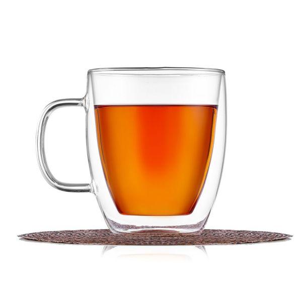 Кружка с двойными стенками для чая и кофе, термостекло,350 ...