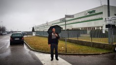 Me and the Schneider Electric office on a rainy day