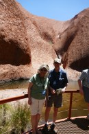 Garnet and Garrett at the waterhole with mosquito nets in hand