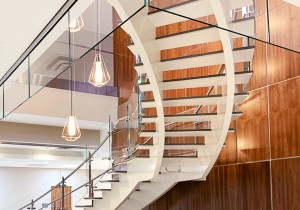 Interior Glass stair railing and smoke baffle