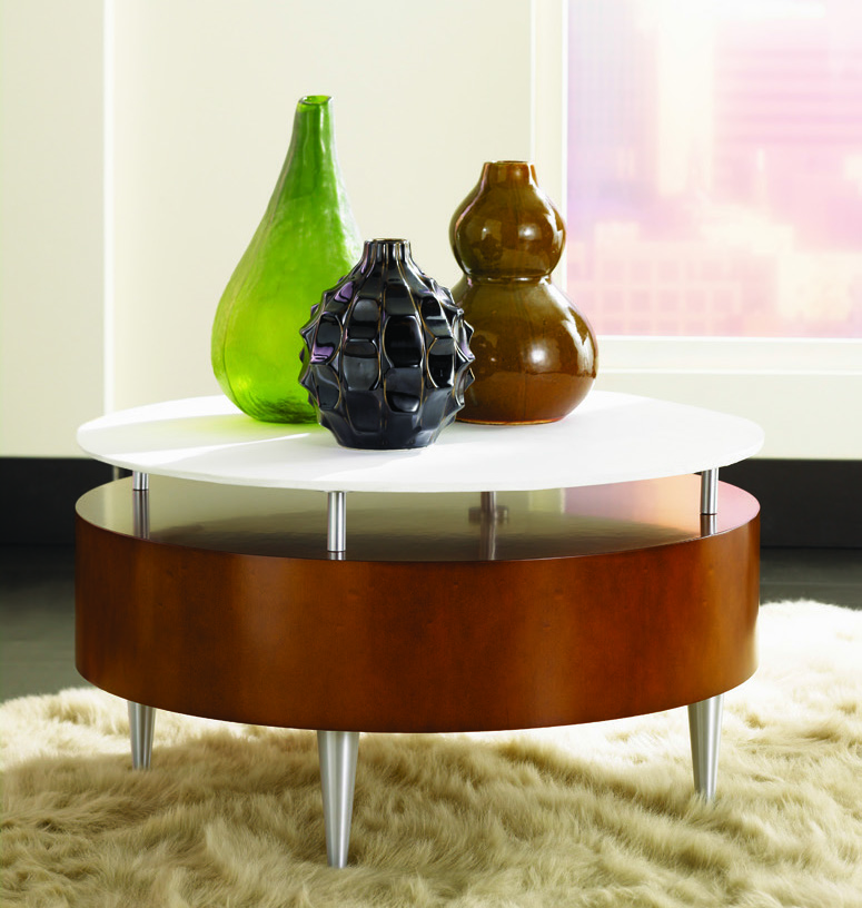 Wooden coffee table with a back-painted white glass tabletop