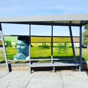 Dip-Tech printing, Evalam Light Green Interlayer Laminated Glass. Louisville, KY Bus Stop
