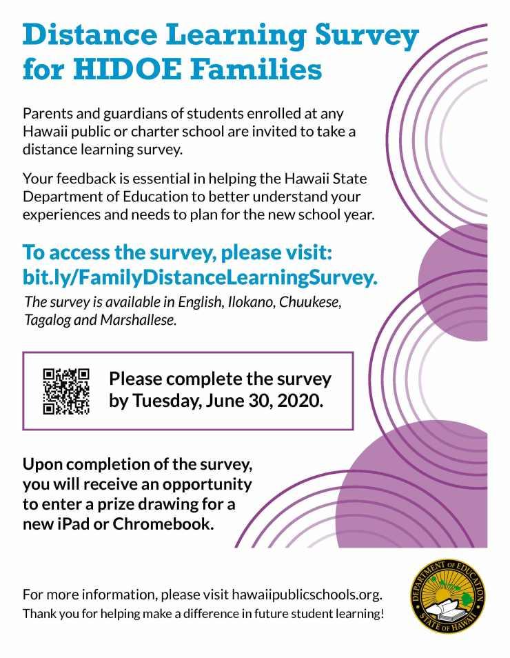 HIDOE Distance Learning Family Survey Flyer
