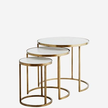sofabord Three marble brass sofabord - Sett med 3 fra Madam Stoltz