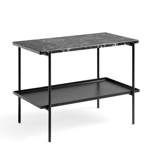 Rebar Side Table Svart/marmor L:75/H:55 fra Hay -