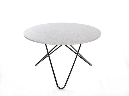 Big O Spisebord Svart/Matt Hvit Marmor Ø120 fra OX DENMARQ