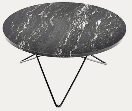 Big O table spisebord - Black Marquina/black steel fra OX DENMARQ