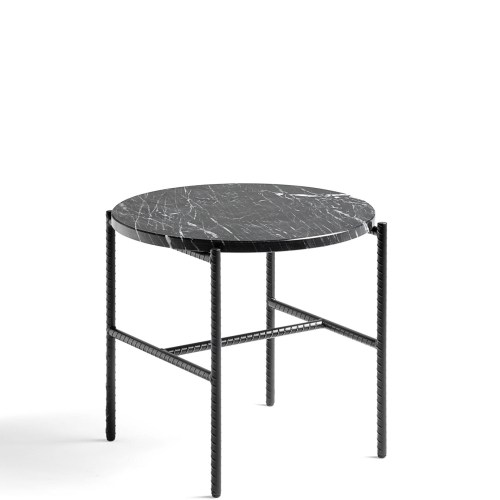 Rebar Coffee Table Svart/marmor Ø:45 - Hay