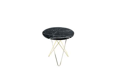 Tall Mini O Table Svart Marmor med Messingramme Ø50 fra OX DENMARQ