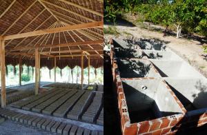 Tijolos e fossa ecológica na ecovila Itapeba