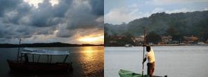 """Barco """"pópópó""""e canoa que fazem a travessia do Rio de Contas"""