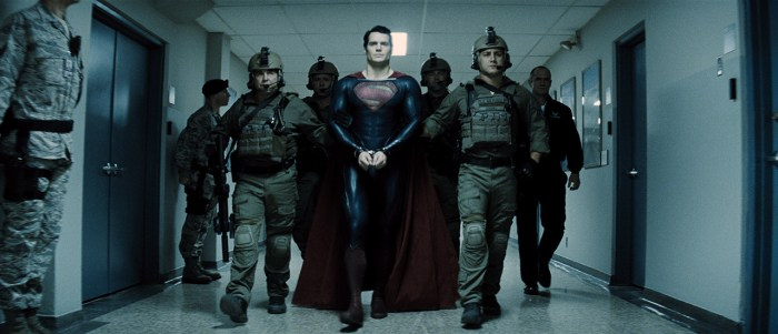 """HENRY CAVILL (center) as Superman and CHRISTOPHER MELONI (far right) as Colonel Hardy in Warner Bros. Pictures' and Legendary Pictures' action adventure """"MAN OF STEEL,"""" a Warner Bros. Pictures release."""