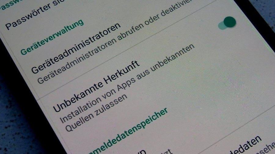 Unbekannte Quellen Android 9