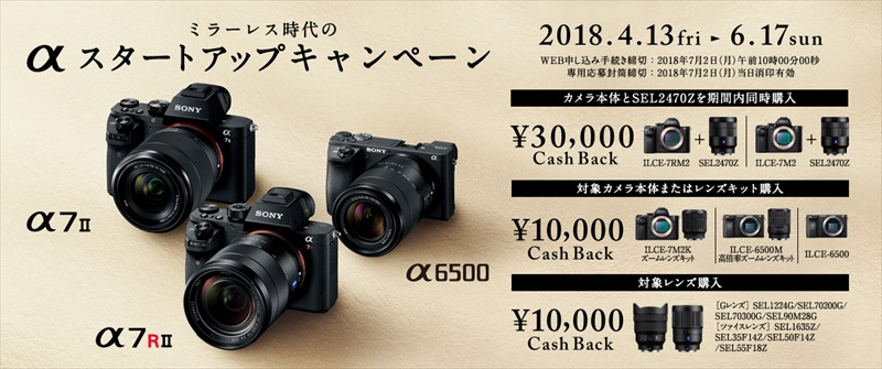 ミラーレス時代のαスタートアップキャンペーン α6500 ミラーレスカメラ α7Ⅱ キャッシュバック